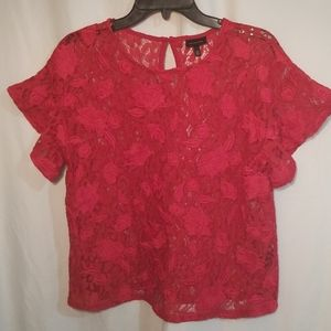 Who What Wear Red Sheer Lace Blouse Medium